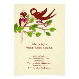 Schlüssel zu meiner Herz-Liebe-Vogel-Hochzeit 12,7 X 17,8 Cm Einladungskarte
