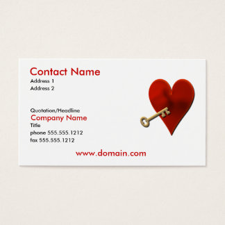 Schlüssel zur Herz-Visitenkarte Visitenkarten