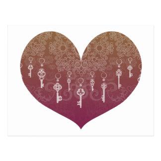 Schlüssel zur Liebe Postkarte