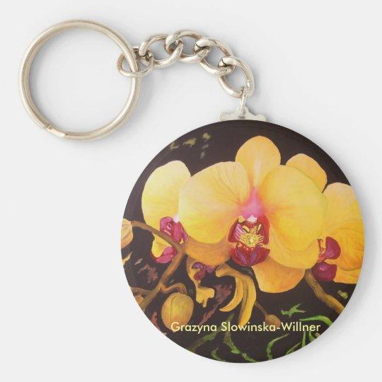 Schlüsselanhänger,,Gelbe Orchidee,, Schlüsselanhänger