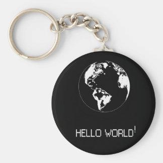 schlüsselbund mit Mitteilung Hallo Welt im Weiß Schlüsselanhänger