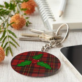 Schlüsselkette des entzückenden Weihnachtstartan Schlüsselanhänger