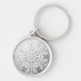 Schlüsselkette--Silberne Schneeflocke Schlüsselanhänger