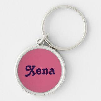 Schlüsselkette Xena Silberfarbener Runder Schlüsselanhänger