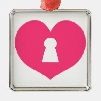 Schlüsselloch-Herz-Rosa Silbernes Ornament