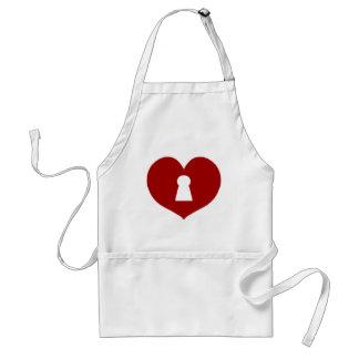 Schlüsselloch-Herz-Rot Schürze