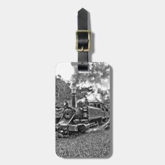 Schmalspur-Dampf-Zug Schwarzweiss Gepäckanhänger
