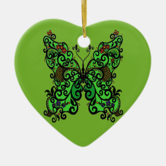 Schmetterling 1 keramik Herz-Ornament
