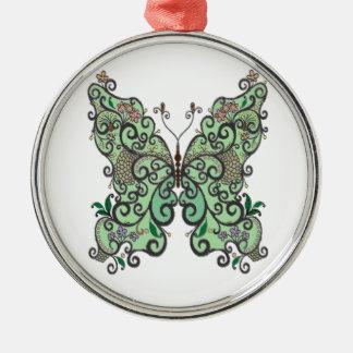 Schmetterling 1 rundes silberfarbenes ornament