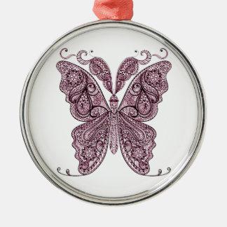 Schmetterling 8 rundes silberfarbenes ornament