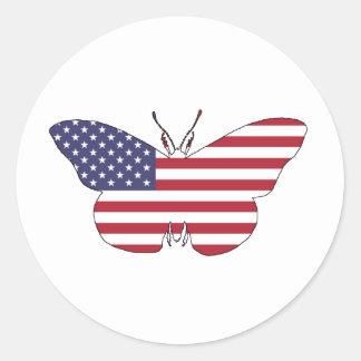 """Schmetterling """"amerikanische Flagge """" Runder Aufkleber"""