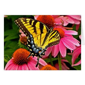 Schmetterling auf Anmerkungs-Karte der Blumen-v22 Karte