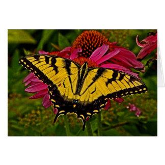Schmetterling auf Anmerkungs-Karte der Blumen-v3 Karte
