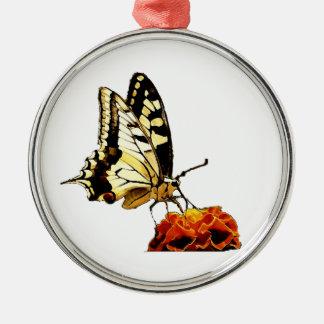 Schmetterling auf Blume Rundes Silberfarbenes Ornament