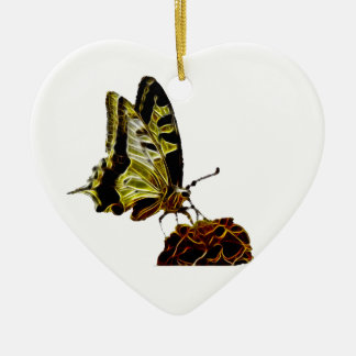 Schmetterling auf Blumenneon Keramik Herz-Ornament