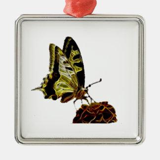 Schmetterling auf Blumenneon Silbernes Ornament