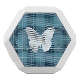 Schmetterling auf karierten Blues II Weiße Bluetooth Lautsprecher