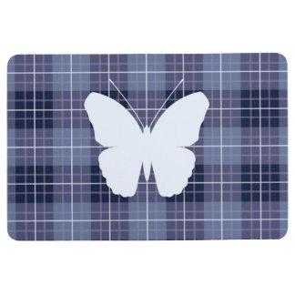 Schmetterling auf karierten Blues u. Purpur II Bodenmatte