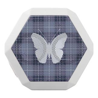 Schmetterling auf karierten Blues u. Purpur II Weiße Bluetooth Lautsprecher