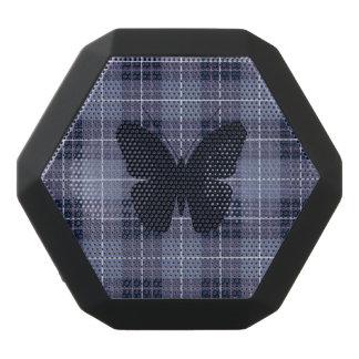 Schmetterling auf karierten Blues u. Purpur Schwarze Bluetooth Lautsprecher