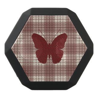 Schmetterling auf karierten Rottönen u. Creme Schwarze Bluetooth Lautsprecher