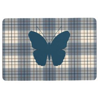 Schmetterling auf karierter Blues-Brown-Creme Bodenmatte