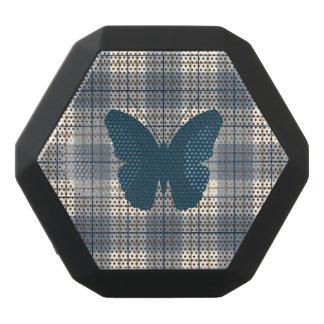 Schmetterling auf karierter Blues-Brown-Creme Schwarze Bluetooth Lautsprecher