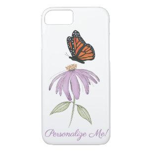 Schmetterling auf Kegel-Blumenapfel iPhone Fall iPhone 8/7 Hülle