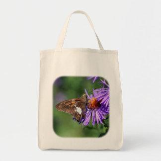 Schmetterling auf lila Aster-Natur-Taschen-Tasche Tragetasche