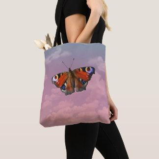 Schmetterling auf Pastellhimmel Tasche
