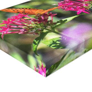 Schmetterling auf rosa Blumen Leinwanddruck