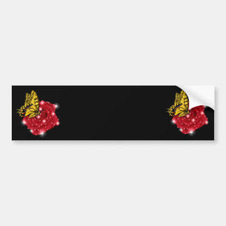 Schmetterling auf rote Rose m. sterne regentropfen Autoaufkleber