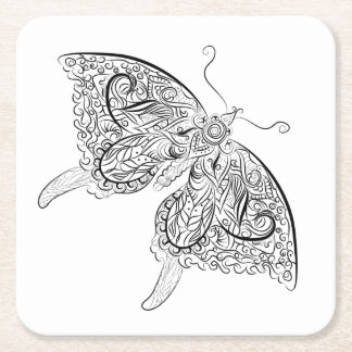 Schmetterling erwachsener Farbton-Untersetzer Kartonuntersetzer Quadrat