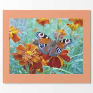 Schmetterling im bunten Garten Geschenkpapier