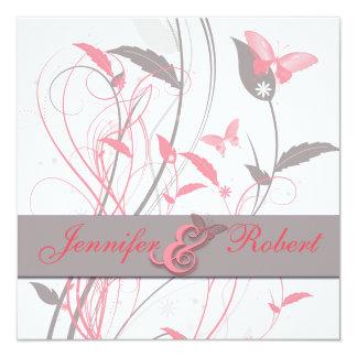 Schmetterling im Geißblatt-rosa und grauen Quadratische 13,3 Cm Einladungskarte