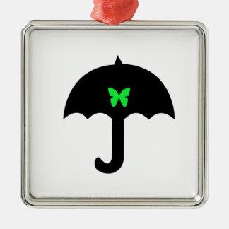 Schmetterling im Regenschirm Silbernes Ornament