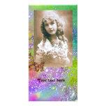 SCHMETTERLING IN hellem lila grün-blauem der GLITZ Foto Grußkarte