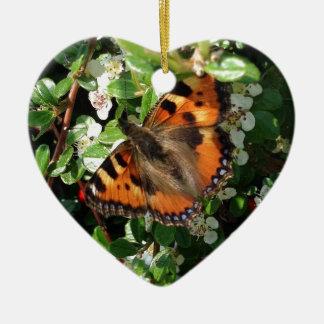 Schmetterling Keramik Herz-Ornament