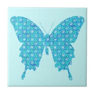 Schmetterling, Muster im Blau, Türkis, weiß Keramikfliese