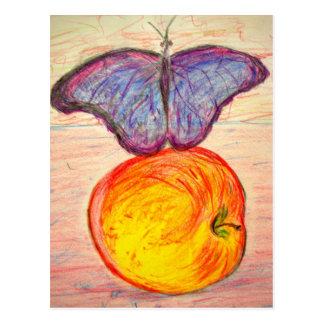 Schmetterling und Apple bleiben freien Postkarte
