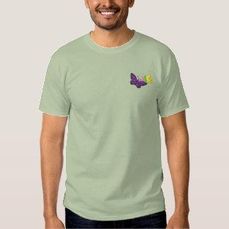 Schmetterling und Blumen Besticktes T-Shirt