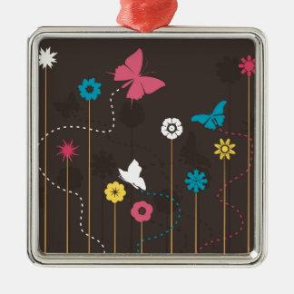 Schmetterling und ein flower3 silbernes ornament