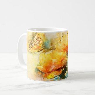 Schmetterling und gelbe Blumen im Frühlings-Garten Kaffeetasse