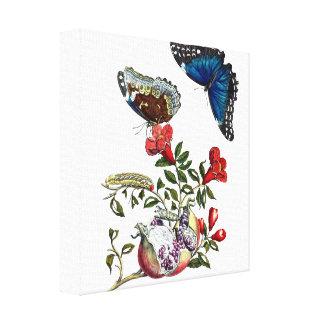 Schmetterlinge auf Granatapfel Leinwanddruck