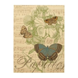 Schmetterlinge auf Noten mit Blumenmuster Holzwanddeko