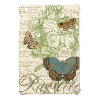 Schmetterlinge auf Noten mit Blumenmuster iPad Mini Hülle