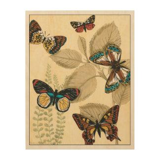 Schmetterlinge, die über Blätter gleiten Holzwanddeko