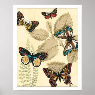 Schmetterlinge, die über Blätter gleiten Poster