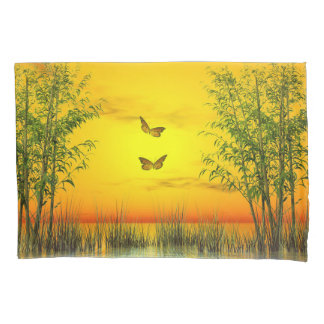 Schmetterlinge durch Sonnenuntergang - 3D Kissenbezug