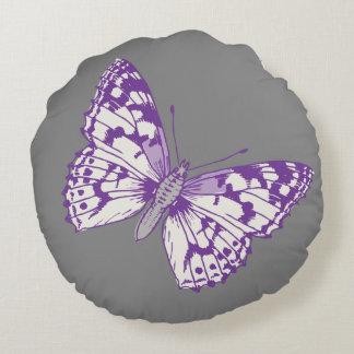 Schmetterlinge graues lila rundes Throwkissen Rundes Kissen